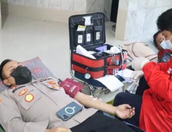 Sambut Hari Bhayangkara Ke 75 Polres Cilegon Polda Banten Laksanakan Donor Darah